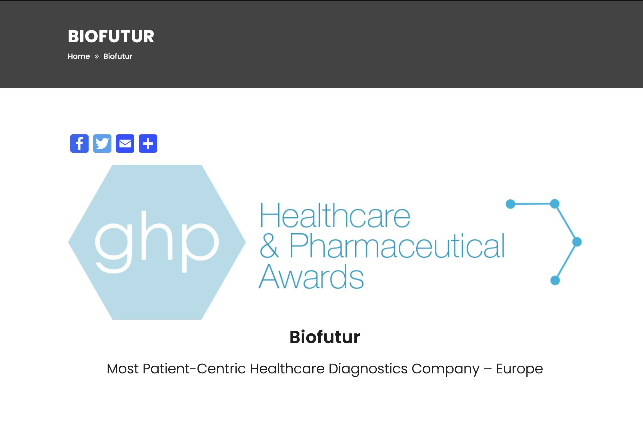 Biofutur primé au ghp Healthcare & Pharmaceutical Awards